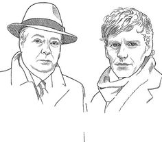 Hedcut WIP aka work-in-progress: stipple portrait of Roger Allam and Shaun Evans from Endeavour, TV series about young inspector Morse
