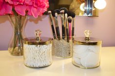 The Glam Vice: DIY Vanity Storage Jars/Brush Holders @Katie Hrubec Bass