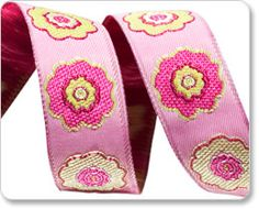 Pink and Green Primrose Flower Ribbon - Laura Foster Nicholson known for hand woven brocaded tapestries. In addition to her art work she designs gorgeous ribbons exclusively for Renaissance Ribbons.