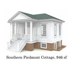 "House plans for this 940 sq/ft cottage. The ""Southern Piedmont"", which would make for a great beach house. Tiny House Cabin, Tiny House Living, Cottage Living, Small House Plans, House Floor Plans, Small Cottages, Cabins And Cottages, Tiny House Movement, Style At Home"