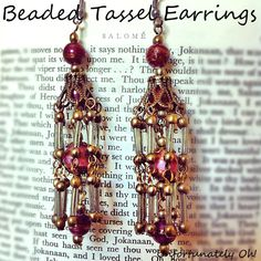 """beaded tassel earring tutorial - would like this as ends of a long chain """"tied"""" as necklace"""