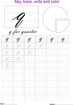 Cursive small letter q worksheet