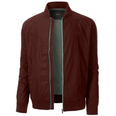 LE3NO Mens Lightweight Classic Zip Up Bomber Jacket with Pockets... ❤ liked on Polyvore featuring men's fashion, men's clothing, men's outerwear, men's jackets, mens flight jacket, mens bomber jacket, men's four pocket jacket and mens slim fit jackets