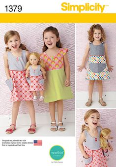 "have fun fabric mixing and piping with this dress for children and matching   dress for 18"" doll. dress can be sleeveless with side pockets and matching doll dress"