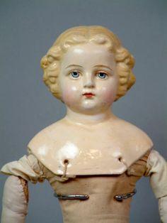 "All Original 14"" Antique German Paper Mache Girl Superb Costume C 1860 | eBay"
