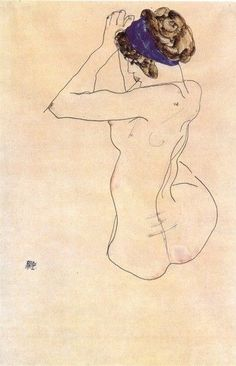 Egon Schiele - Nude with a blue headband.