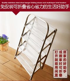 Quality stainless steel shoe hanger folding shoes rack multi-layer brief modern #Affiliate