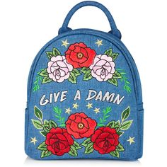 Give a Damn Mini Backpack found on Polyvore featuring bags, backpacks, mini bag, knapsack bag, day pack backpack, blue bag and blue backpack
