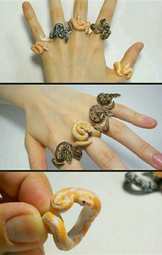 Ball python rings i love I Do Not like much but are some patterns that have incredible Cute Polymer Clay, Cute Clay, Polymer Clay Crafts, Diy Clay, Polymer Clay Jewelry, Cute Jewelry, Diy Jewelry, Jewelery, Jewelry Making