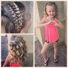 """Yesterday was the last day of dance camp (""""Dancing with the Stars"""") ⭐️This little girl had a blast and was so thankful that she got to have such a fun week with Alexis Pearson at she requested a braid with waves so that's what she got! Tween Hairstyles For Girls, Girls Hairdos, Princess Hairstyles, Flower Girl Hairstyles, Great Hairstyles, Little Girl Hairstyles, Braided Hairstyles, Party Hairstyles, Braided Updo"""