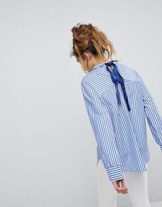 Pull&Bear   Pull&Bear Stripe Woven Shirt With Ribbon Tie Back