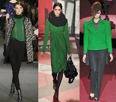 Fall 2009 Fashion Week Trend: Green - Omiru: Style for All Green Fashion, Work Fashion, Runway Fashion, Fashion Design, Fashion Trends, Irish Fashion, World Of Fashion, Fashion Addict, Wide Leg Pants
