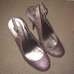 Candie's stilettos Candie's glitter stiletto's with ankle strap. Only worn twice, perfect night out heels! Candie's Shoes