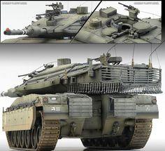 MERKAVA MK IV LIC Israel Defense Armor 1/35[Academy] Plastic Model Kit/Free trac #Academy