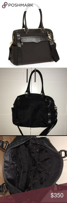 Rebecca Minkoff Diaper Bag uthentic Rebecca Minkoff knocked up diaper bag, Nylon material & black genuine soft leather! New condition, amazing price!   I'll only consider offers made with the offer button.💰 No trades or low ball offers.🚫 My items are already extremely discounted &  sell very fast. So, if you see something you like... make an offer! 😋  Thanks for looking around my closet! 💖🎀👗👛👠💄  BUNDLE & SAVE 10%!  Top RATED SELLER // SUGGESTED USER ✨ Rebecca Minkoff Bags Baby Bags