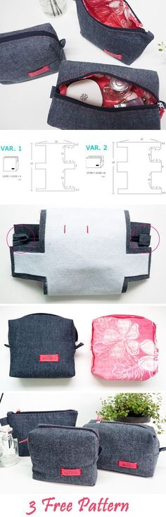 Tendance Sac 2017/ 2018 : Cosmetic Bags | Makeup Cases DIY Sewing Projects. Pattern & Photo Tutorial  www.