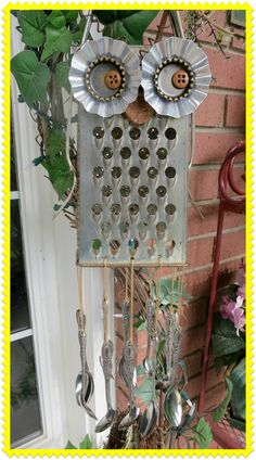 Owl windchime...old cheese grater