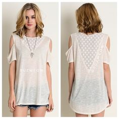 """NWT Cold Shoulder Lace Inset Tunic Top • S, M, L Beautiful loose fit tunic top in Cream Ivory v-neck lace inset on front and deeper V on back""""Cold Shoulder"""" Open design on sleeves. Inset features a trendy geometric patternPairs beautifully with a pair of skinny jeans or cutoffs!Available in sizes S, M, and L in my closet ✅Bundles are discounted!✅ No trades No PP Katana Couture Tops"""