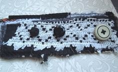 Black White Textile Cuff with Repurposed Fabric by dwhitecreations, $25.00