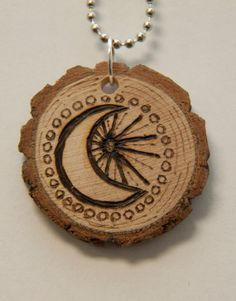 Moon and Sun Wood Burned Necklace (a favorite shop)
