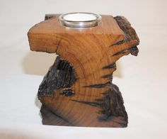 Handcrafted yellow tree trunk candle holder