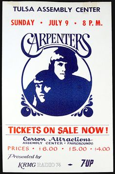 1972 The Carpenters Tulsa Concert Poster