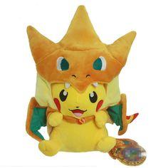 25 cm Kawaii Pikachu Cosplay Mega Dracaufeu Y Jouets En Peluche Pikachu En Peluche Jouets Doux Animaux En Peluche Poupée Cadeau De Noël
