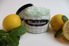 Lemon Mint Sugar Scrub – Blissfulicious! All-Natural handcrafted ingredients that leaves your skin feeling polished and glowing!