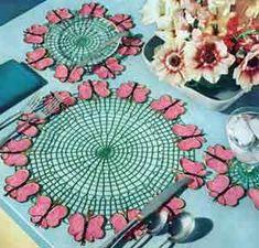 Make in purple for lupus awareness:  Butterfly Luncheon Set Pattern | Crochet Patterns