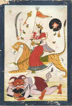 Hindu Cosmos - Durga rides triumphantly over a demon 1775-1800,...