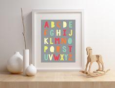 ABC Alphabet Print Digital Nursery Kids Room by VandaBabyCards Bear Nursery, Baby Girl Nursery Decor, Nautical Nursery, Nursery Wall Decor, Nursery Prints, Wall Prints, Nursery Ideas, Kids Room Art, Art For Kids