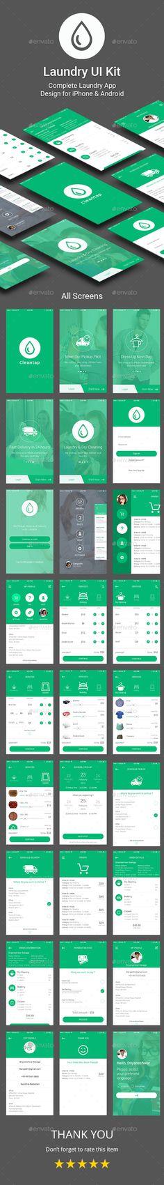 Laundry App UI Kit - User Interfaces Web Elements