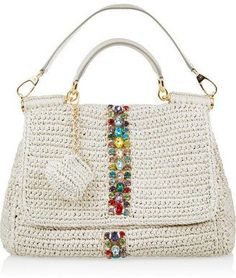 Dolce & Gabbana Raffia and leather shoulder bag: