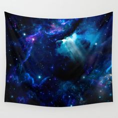 Space Wall tapestry, Nebula Blue tapestry, Stars Tapestry, Art Space Tapestry  Wall Tapestries are made of 100% lightweight polyester with hand-sewn