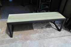 ClenchenkoBench | Steel base bench with green colored concre… | Flickr
