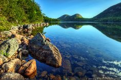 This view is from the western side of Jordan Pond where there is a hiking trail boardwalk.