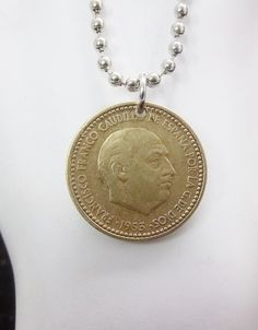 Spanish Coin Necklace 1 Peseta Coin Ball by AutumnWindsJewelry, $12.00