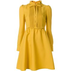 Valentino flared bib dress (€2.430) ❤ liked on Polyvore featuring dresses, flared skirt dress, yellow long sleeve dress, flare dresses, flared dress and valentino dress