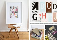 old magazines + scissors + glue = abc-poster Abc Poster, Diy Arts And Crafts, Crafts For Kids, Bracelet Chevron, Hand Lettering Envelopes, Gifts For New Parents, Just Dream, Old Magazines, Do It Yourself Projects