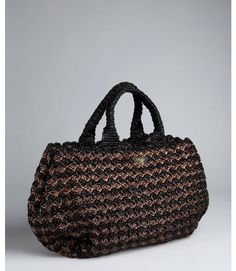 PRADA: Black and Brown Woven Rafia Tote