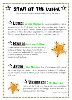 Star of the Week ! Classe Star, Star Of The Week, Core French, French Resources, Education, Esl, Teaching Ideas, School, Showgirls