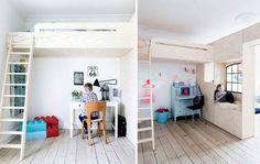 Selvom søskendeparret Vitus og Cornelia deler værelse, kan de hver især sige, at de har deres eget værelse. En bred væg med indbygget skydedør, opbevaring og hyggekrog deler nemlig rummet i to.