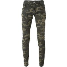 Philipp Plein Interlude Slim Fit Jeans ($720) ❤ liked on Polyvore featuring jeans, green, torn jeans, distressing jeans, print jeans, camouflage jeans and patterned jeans