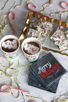 PEPPERMINT COOKIE BARK WITH HOMEMADE HOT CHOCOLATE @dixieproducts  #CupForCrushingIt  #ad
