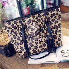 Womens Handbag Leopard Tassel Shoulder Bags Purse Wallet Purse Leather Messenger $43.62