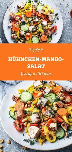 Knackiger Genuss: Würziger Hühnchen-Mango-Salat für alle Tage. Fruchtige Mango trifft auf würziges Hühnchen und knackiges Gemüse. Bring Abwechslung in deinen Salat und mach dir und anderen eine Freude. #kptncook