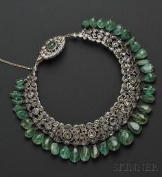 Antique Diamond and Emerald Bead Fringe Necklace