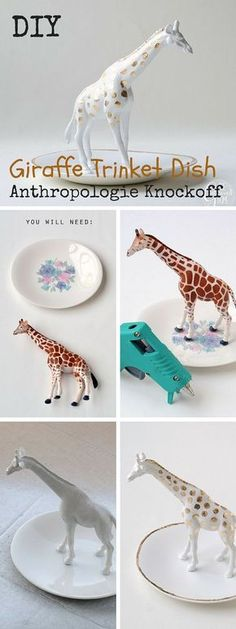Check out the tutorial: #DIY #Anthropologie Giraffe Trinket Dish Knockoff #crafts #homedecor