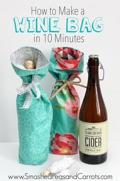 """How to Make a Wine Bag in 10 Minutes with 2 pcs 12"""" x 16"""" and a tie."""