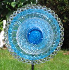 Turquoise and diamond patterned upcycled Glass by GardenGlitz, $30.00